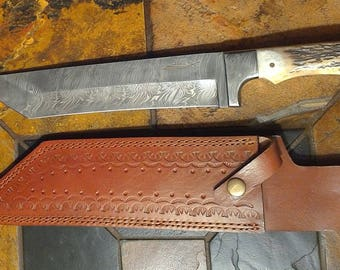Custom Handmade Firestorm pattern Damascus Steel Wichita Cleaver/Machete Knife with top grain cowhide sheath