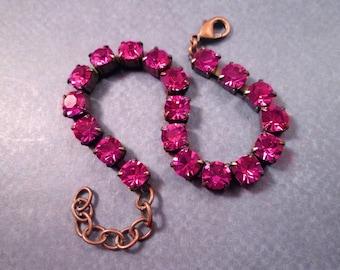 Rhinestone Bracelet, Violet Purple Glass Rhinestone and Copper Beaded Bracelet, FREE Shipping U.S.