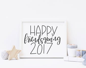 Happy Friendsgiving | Friendsgiving Decor | Thanksgiving Decor | Fall Wall Art | Minimalist Art | Fall Home Decor | Autumn Home Decor