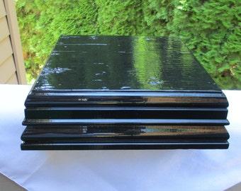 "16"" Square Black Wood Cake/ Cupcake/ Cheese/Display Stand Wedding Platform"