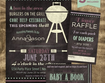 Baby Girl Shower Kit, Chalkboard Invitation Kit, Co-ed Baby Shower, Custom, Matching, Purple, Mint, Modern, BBQ, Casual, Baby-Q