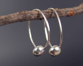 Solid 925 sterling silver drop hoop earrings