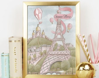 Personalized Baby Shower Gift, Nursery Print Eiffel Tower Paris Wall Art For Girls, Paris Backdrop, Blush Pink Shabby Chic, Large Wall Art