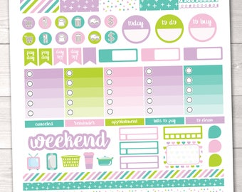 Instant Download Planner Stickers Weekly Kit with Full & Ombre Boxes, Washi, Pay Day, Habit Tracker Appointment Boxes Printable PDF