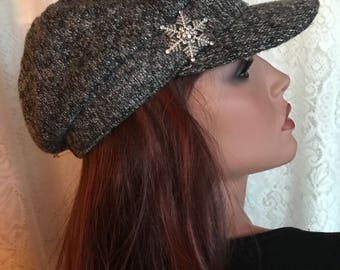 Gray Tweed Newsboy Cap