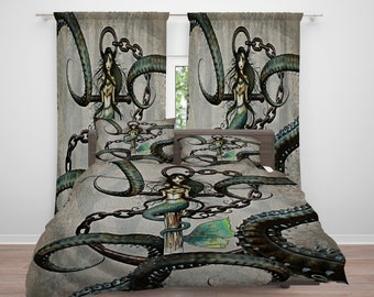 Mermaid Octopus Steampunk  Comforter or  Duvet Cover,Twin  Full Queen King, , Rug, Curtains, Throw Pillow