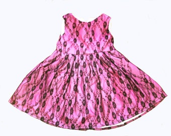 Girls hand made one of a kind Pink & Black lace dress age 1-2