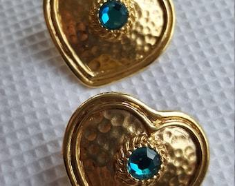Vintage Gold Heart Pierced Post Earrings