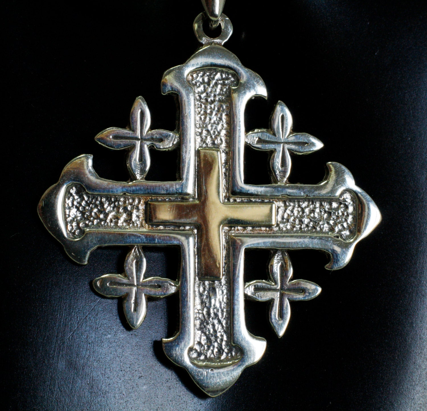 silver cross sterling vintage big jerusalem red maltese pendant enameled