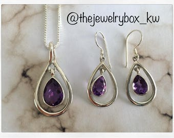 Genuine Amethyst Gemstone // Sterling Silver Jewelry // Sterling Silver Pendant & Earring Set // Gifts for Her