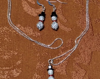 Snowmen Necklace and/or Earrings