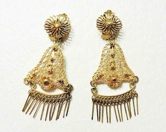Vintage Golden Clip On Earrings Dangle Drop Metal