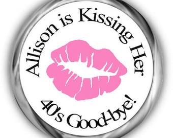 Lips Birthday Stickers, Personalized Birthday, Kissing Goodbye Kisses Sticker