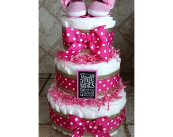 3-Tier Glitter Gold and Hot Pink Polka Dot Baby Girl Diaper Cake