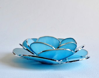 Sky Blue Glass Waterlily, Candle Holder, Stained Glass Votive, Made to Order