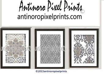 Ikat Prints Khaki Tans Greys Wall Art Prints Modern Inspired  - Set of (3) 8x10 Wall Art Prints (UNFRAMED) #254278631