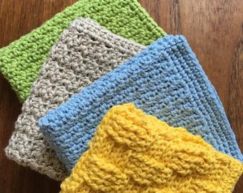 Crochet dishcloths washcloths set of 4