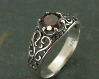 Garnet Ring Silver Filigree Ring Mozambique Garnet Red Ring Sweetheart Ring Promise Ring Maleficent's heart Oxidized Antiqued Ring