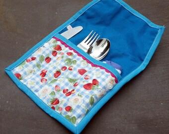 Cutlery Roll, Children's or Babies cutlery, Picnic Cutlery, Cutlery Case, Knife Fork Spoon Roll