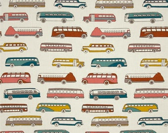 Multi Retro Buses on Cream From Birch Organic Fabric's Trans-Pacific Collection by Jay-Cyn Designs