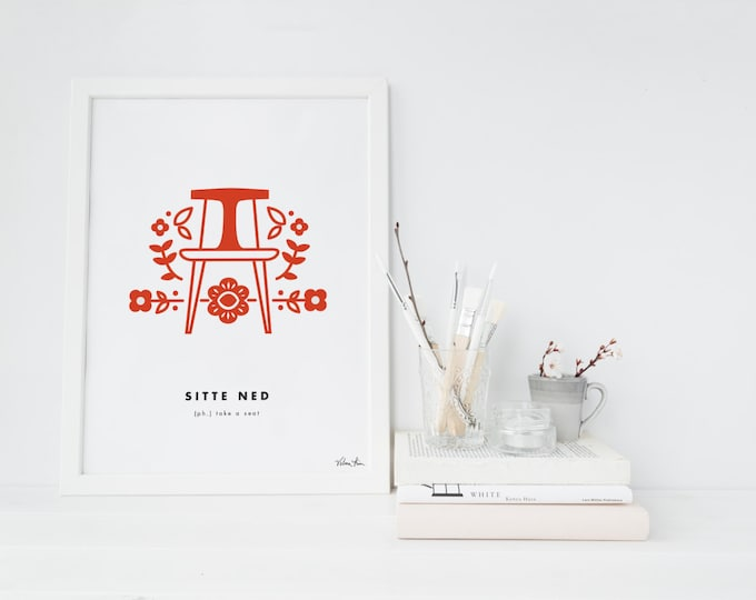 "8x10 ""Sitte Ned"" (Take a Seat) Nordic Word Print, red and white, Norwegian Scandinavian folk art illustration"