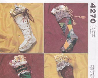 FREE US SHIP McCalls 4270 Sewing Pattern Victorian Boot Stocking Uncut Designer Joanne Beretta Christmas