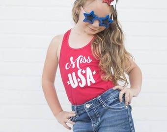 Miss USA Red Girls Tank Top, Patriotic Racerback Shirt, Toddler Kids Red White and Blue Top, Summer, 4th of July, Stars