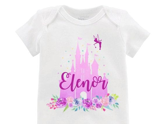 Purple Cinderella Castle Floral Onesie Personalized Onesie Tinker Bell Flutter Sleeve Raglan Birthday Shirt Girl Shirt Monogram Flowers Pink