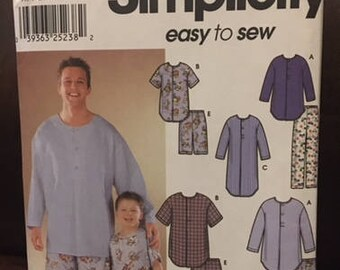 Simplicity #9900 - Men's and Boys' Pajamas in 2 Lengths and Nightshirt - Size A (S-L/S-XL) - Paper Pattern