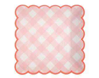 Pink Paper Plates Square Pink Gingham Paper Plates Pink Meri Meri Plates It\u0027s a Girl  sc 1 st  Etsy & Blue Paper Plates Square Blue Gingham Paper Plates Blue Meri