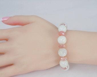 Moonstone Bracelet, White and Peach Moonstone, Bead Bracelet, Genuine Moonstone, Sterling Silver Toggle Clasp