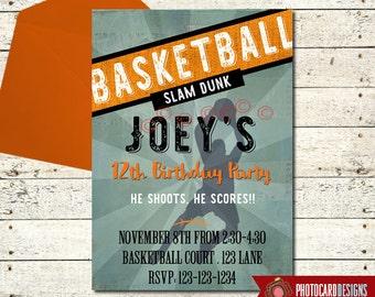 Basketball Birthday Invitation, Basketball Invitations, Basketball Invites, Basketball Party, Basketball Birthday, Digital, Basketball