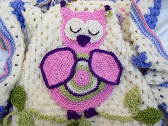 Eule-Baby-Decke häkeln Baby-Decke-Vogel-Baby-Dusche-Geschenk