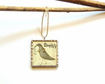 Country primitive ornament, Christmas ornament, Simplify, black crow, cubicle decoration, co-worker gift under 20, picture ornament