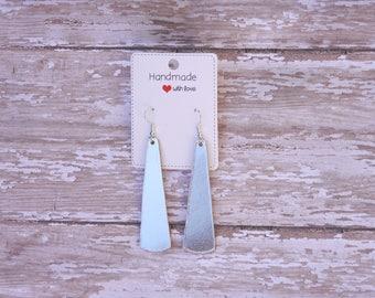 Silver Shiny Metallic Leather Elongated Teardrop Drop Earrings