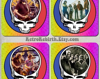 Grateful Dead Drink Coaster Set - Classic Rock Music Gift - Great For Housewarming, Bar & Coffee Table Display - Set Of 4