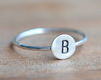 Sterling Silver Initial Stacking Ring - Sterling Silver Letter Ring - Personalized Silver Ring