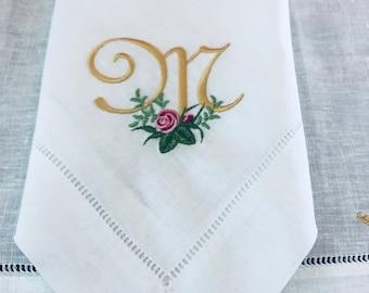 Rose monogram napkins, rose napkins, linen napkins, embroidered napkins, wedding gifts, table linens, dinner napkins, hemstitched napkins