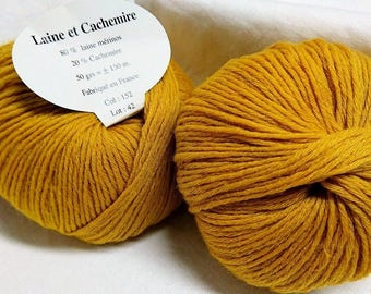 5 balls cashmere and Merino Wool /moutarde/ made in FRANCE