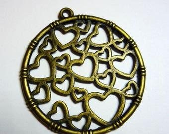 1 charm heart bronze 32mm
