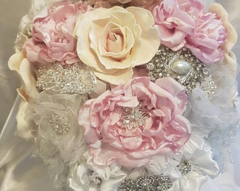 Vintage inspired fabric flower brooch bouquet.