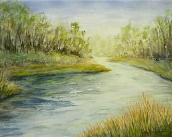 "Original Watercolor River Landscape Painting-Spring River-Green Trees-Running Water-Medium 11""x15"" Wall Hanging"