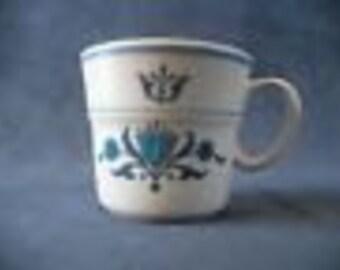 6 Noritake Progression China,  Blue Haven-Folk Art Pattern,  Mugs for Tea or Coffee, Set of 6 Collectible Mugs