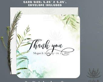 Dankeschön-Karte, grün-danke-Notiz-Karte, Hochzeit Briefpapier, Laub-Dankeschön-Karte, Hochzeit-Dankeschön-Karte