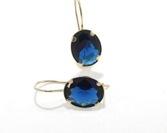 14K Gold Earrings, Blue Zircon Earrings, Gold Drop Earrings, Oval Drop Earrings, Navy Blue Earrings, Anniversary Gift, Bridal Shower Gift,
