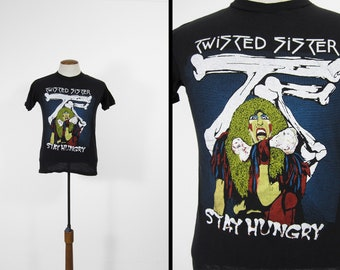 Vintage Twisted Sister T-shirt Stay Hungry Black Fantasy Cotton Tee - Size Small
