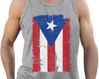 Vintage Distressed Puerto Rico Flag Singlet