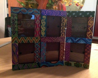 """Hand Painted Bohemian Ready To Travel Wood 6 Picture Folding Frame 10.5""""Wx8""""Hx.5""""D  Pic. 2""""WX3""""H  F0049"""