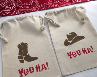 Western Favor Bag with Cowboy Hat and Cowboy Boot Design