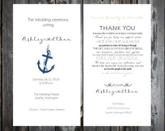 150 Nautical Beach Anchor Wedding Ceremony Programs